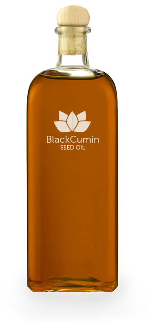 Blackseed Oil bottle on white background